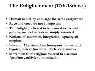 The Enlightenment (17th-18th cc.)