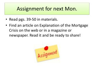 Assignment for next Mon.