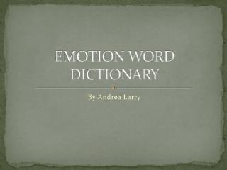 EMOTION WORD DICTIONARY