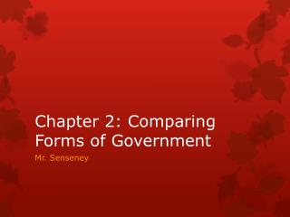 Chapter 2: Comparing Forms of Government