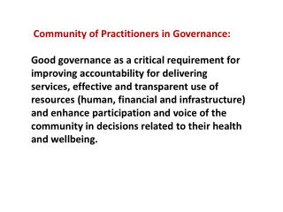 Community  of Practitioners in  Governance:
