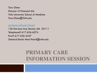 Primary Care Information Session
