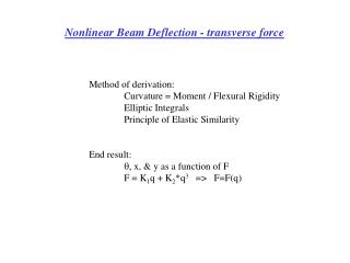 Nonlinear Beam Deflection - transverse force