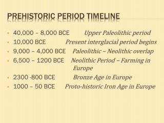 Prehistoric period timeline
