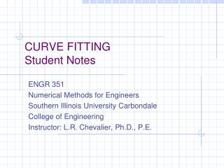 CURVE  FITTING Student Notes