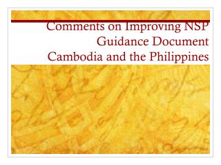 Comments on Improving NSP Guidance  Document Cambodia and the Philippines