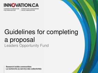 Guidelines for completing a proposal