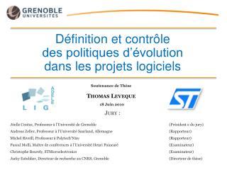 Définition et contrôle  des politiques d'évolution dans les projets logiciels