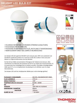 DELIGHT LED BULB E27  TABE273K8D