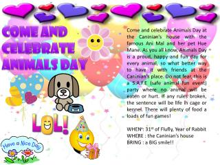 Come and celebrate animals day