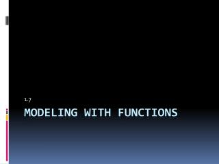 Modeling With functions