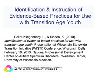Identification  Instruction of Evidence-Based Practices for Use with Transition Age Youth