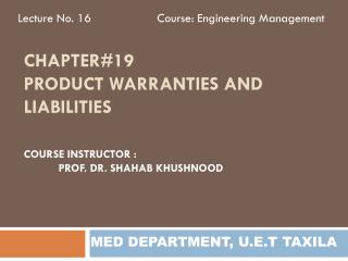 Chapter#19 Product warranties and liabilities