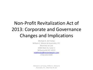 Non-Profit Revitalization Act of 2013: Corporate and Governance Changes and Implications