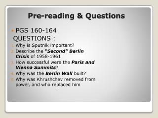 Pre-reading & Questions