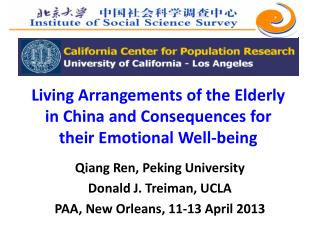 Living Arrangements of the Elderly in China  and Consequences  for their Emotional  Well-being