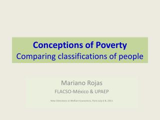 Conceptions of Poverty Comparing classifications of people
