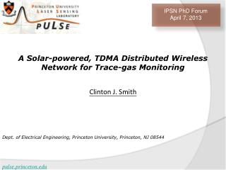 A Solar-powered, TDMA Distributed Wireless Network for Trace-gas Monitoring