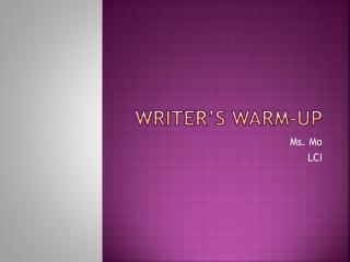 Writer's Warm-up