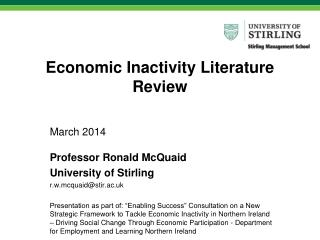 Economic Inactivity Literature Review
