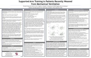 Supported Arm Training in Patients Recently Weaned from Mechanical Ventilation