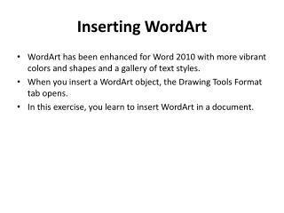 Inserting WordArt
