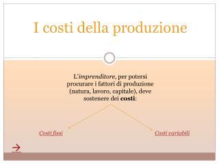 I costi della produzione