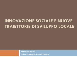 Innovazione sociale e nuove traiettorie di sviluppo locale