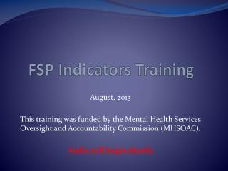 FSP Indicators Training