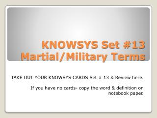KNOWSYS Set #13 Martial/Military Terms