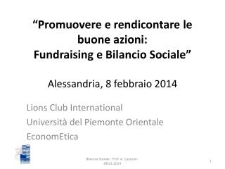 Lions Club International Università del Piemonte Orientale EconomEtica