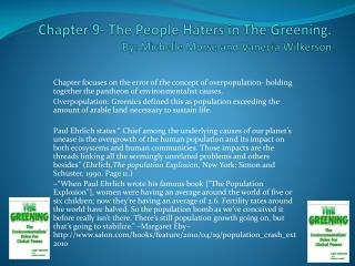 Chapter 9- The People Haters in  T he Greening. By: Michelle Morse and  Vanecia  Wilkerson