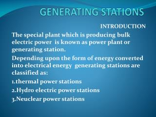 GENERATING STATIONS