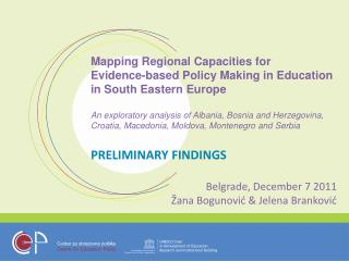 Mapping Regional Capacities for Evidence-based Policy Making in Education in South Eastern Europe