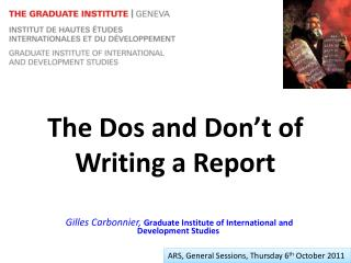 The Dos and Don�t of Writing a Report