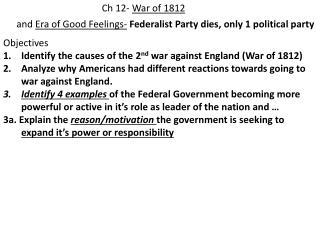 Ch 12-  War of 1812