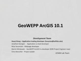 GeoWEPP  ArcGIS 10.1
