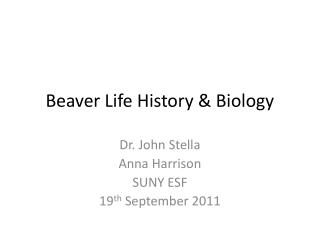 Beaver Life History & Biology