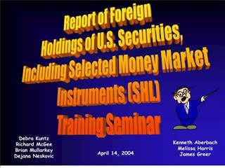 Report of Foreign Holdings of U.S. Securities, Including Selected Money Market  Instruments SHL Training Seminar