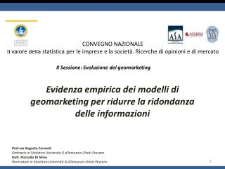 Evidenza empirica dei modelli di  geomarketing  per ridurre la ridondanza delle informazioni