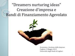 """"""" Dreamers nurturing ideas """"  Creazione d'impresa e  Bandi di Finanziamento Agevolato"""