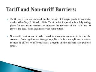 Tariff and Non-tariff Barriers: