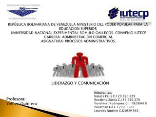 REPÚBLICA BOLIVARIANA DE VENEZUELA MINISTERIO DEL PODER POPULAR PARA LA EDUCACION SUPERIOR