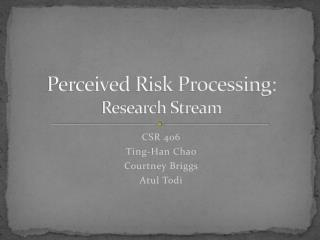 Perceived Risk Processing: Research Stream