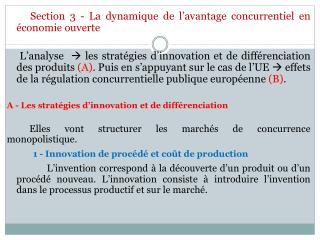Section 3 - La dynamique de l�avantage concurrentiel en �conomie ouverte
