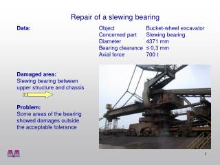 Repair of a slewing bearing