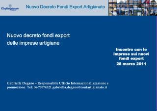 Incontro con le imprese sui nuovi fondi export 28 marzo 2011