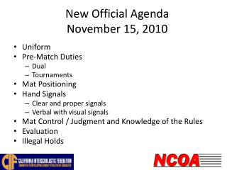 New Official Agenda November 15, 2010
