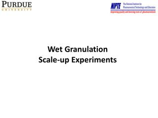 Wet Granulation Scale-up Experiments