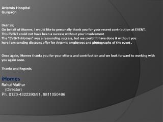 Artemis Hospital Gurgaon Dear Sir,